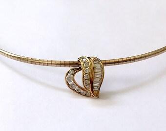 Delicate Sterling Vermeil & CZ Baguette Heart Necklace