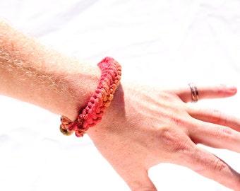 Tie Dye Rope Bracelet, Forearm Ring, Cotton Jewelry, Knot Bracelet, Tie Dye Woven Bracelet, Celtic Weaving Rope Bracele