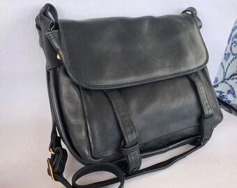 Vintage Brio black leather messenger bag crossbody handbag purse