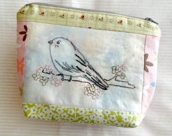 Chickadee Bird Embroidery Zip Pouch Pattern Instant Digital Download