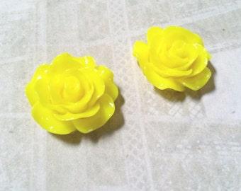 Yellow Rose Cabochons Flower Flatbacks 18mm Resin Flower Cabochons Flat Back Flowers Yellow Flower Flatback 10 pieces