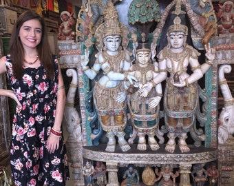 Indian Antique Temple Carving Sculpture Hand Carved Shiva Parvati Vishnu Meditation Decor Spiritual iNterior Zen Design FREE SHIPPING