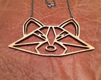 Laser Cut Wood Raccoon Necklace