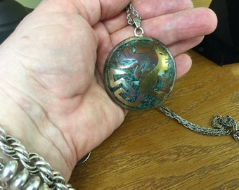 Vintage Mexican Sterling Medallion Necklace