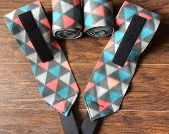 Gray, Teal and Salmon Triangles polo wraps
