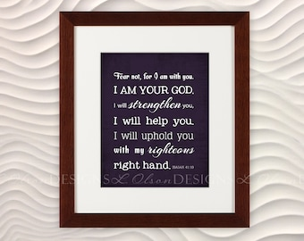 Isaiah 41:10 Fear Not, for I am with you - Plum - 8x10 - DIY Printable - INSTANT Download
