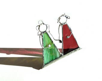 Best friends suncatcher, stained glass art, suncatcher ornament, friends, siblings, mom and me, sisters, bff gift, Happy Birthday
