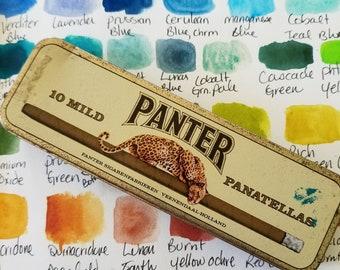 18 half pan vintage watercolor travel tin - vintage watercolor palette with 18 empty half pans