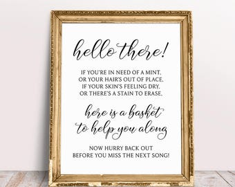 Wedding Bathroom Basket Sign, Here Is A Basket To Help You Along, Wedding Bathroom Sign, Wedding Day Signs, Wedding Bathroom Basket Print