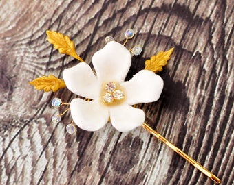 Bridal Hair Pin with clay flower, clay leaves, AB crystals and rhinestones