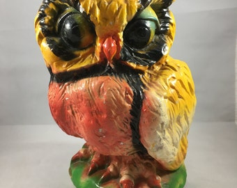 Vintage Large Yellow and Red Chalkware Owl Bank