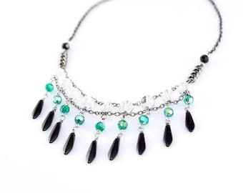 Beaded Necklace/ Modern Necklace/ Elegant Necklace/ fashion jewelry/ Swarovski Necklace/ White Crystal Necklace/ Glass Beaded Necklace