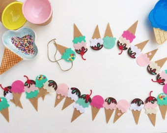 Ice Cream Banner-Ice Cream- Ice Cream Party- Ice Cream Garland - Felt Garland- Ice Cream Cone -Ice Pop- Popsicle- Ice Cream Decorations