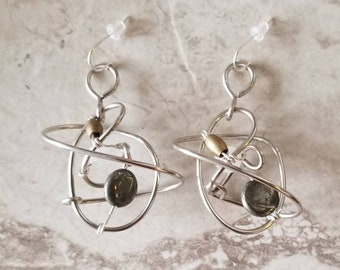 Med. Pyrite & quartz galaxy earrings