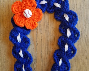 Hand-Crochet NY METS HEADBAND w Flower and Baseball Button New York Mets Baby Infant Baby Shower Gift & Photo Prop Royal Blue White