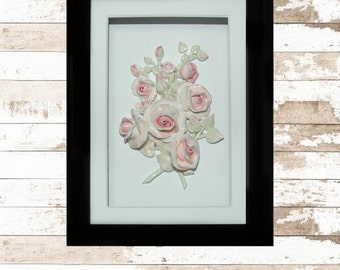 Shabby Chic Roses, Branching Miniature Rose Sculpture, Shadowbox Frame, CreatingCottage
