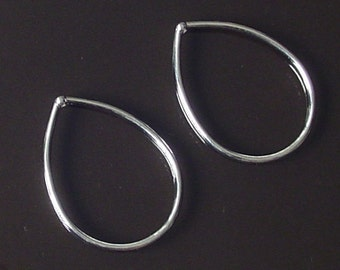 SALE - 10 pc-  Silver teardrop Connector, Link, Drop, Pendant, charm, - lead free - Nickel free