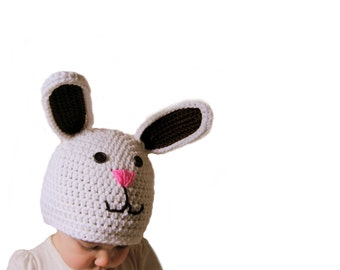 Crochet Easter Bunny Hat, Boys Easter Hat, Bunny Rabbit Crochet Hat, Crochet Baby Hat, Easter Bunny Beanie, Boys Rabbit Hat, Farm Animal Hat