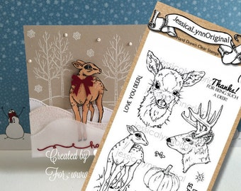 Clear Stamp Set JessicaLynnOriginal Love you Deer Clear Rubber Stamp Set perfect for Deer Lovers Nature Hunting