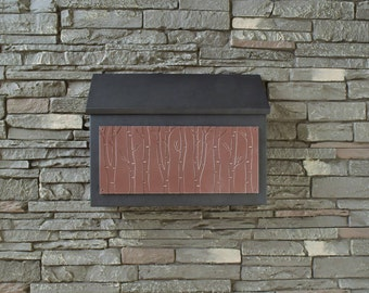 Modern Rectangular Mailbox - Birch Tree Design