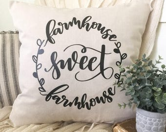 """Farmhouse Sweet Farmhouse Home Sweet Home Cover 18x18"""" Housewarming Gift New Home Fixer Upper Cottage Shabby Chic Magnolia Market Inspired"""