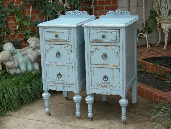 2 NIGHTSTANDS Custom Order For Your Shabby Chic Bedroom Pair Of Nightstands Hand Painted Furniture