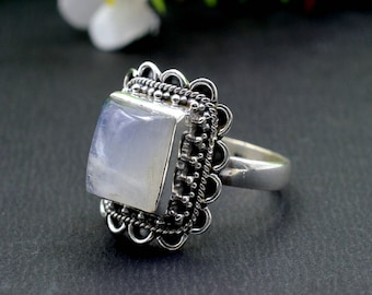 Natural Rainbow Moonstone Square Gemstone Ring 925 Sterling Silver R183