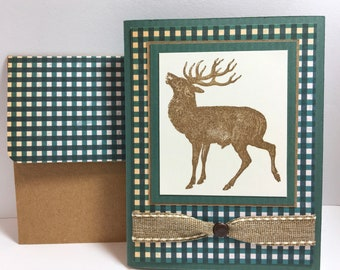 Deer Hunting Card - Deer Hunter - Elk Card - Masculine Card - Handmade Card - Father's Day Card
