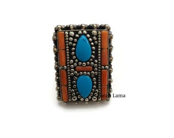 Turquoise /Red Stone Statement Ring