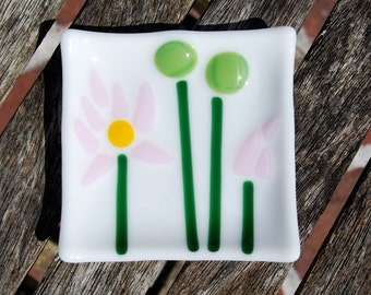 Fused Glass Dish Lotus Flower - Spoon Rest - Trinket Dish - Jewelry Holder