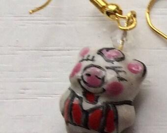 Smiling pigs in vests Earrings