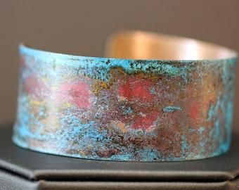 Copper Cuff Bracelet with Blue Patina (033018-001)