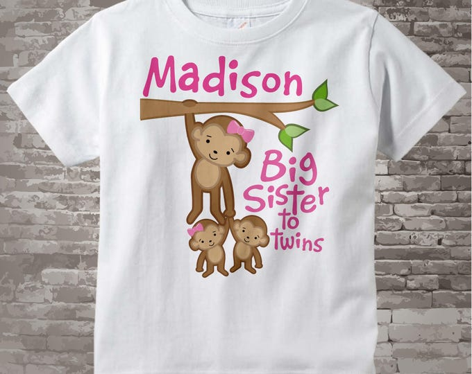 Big Sister to Twins Shirt or Onesie, Monkey Shirt, Big Sister Monkey with twin babies 1 girl 1 boy, Personalized Big Sister 02042014e