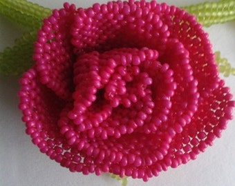 Pearl flower necklace pink rose with green leaves; handmade necklace