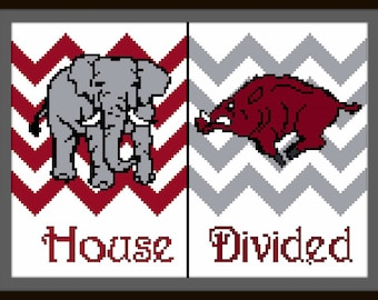 House Divided-4 counted cross stitch chart - downloadable file