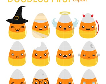 Kawaii Candy Corns Clip Art for Scrapbooking Card Making Cupcake Toppers Paper Crafts