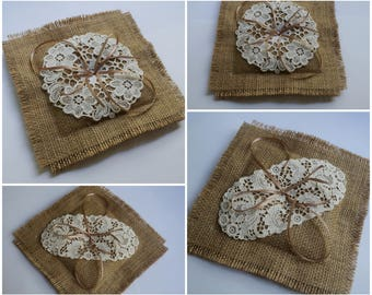 Retro burlap ring bearer pillow, hessian ring cushion, small round or oval lacy doily, satin ribbons, beach wedding, rustic wedding