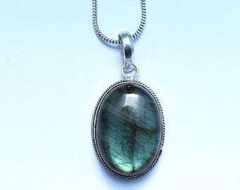 Labradorite Necklace, Labradorite Pendant, Labradorite Necklace Pendant, High Blue Flash Labradorite, High Quality Blue Labradorite, 9