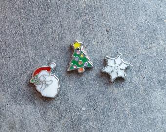Floating Charm For Glass Memory Lockets- Santa, Christmas Tree, Snowflake