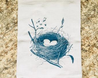 Sweet Bird Nest with branch and flowers Dish Towel Flour Sack Tea Towel