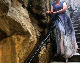 Nuno Felted Grey Dress, Nuno felt Dress, OOAK wool Art to Wear dress, Silk dress, Original Dress, Unique Silk Dress, Summer Felt Dress