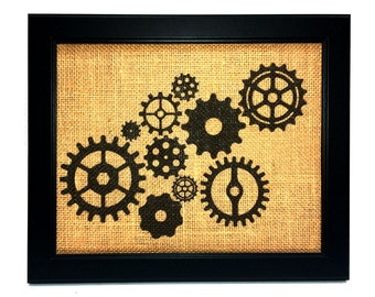 Burlap Steampunk Wall Art Print