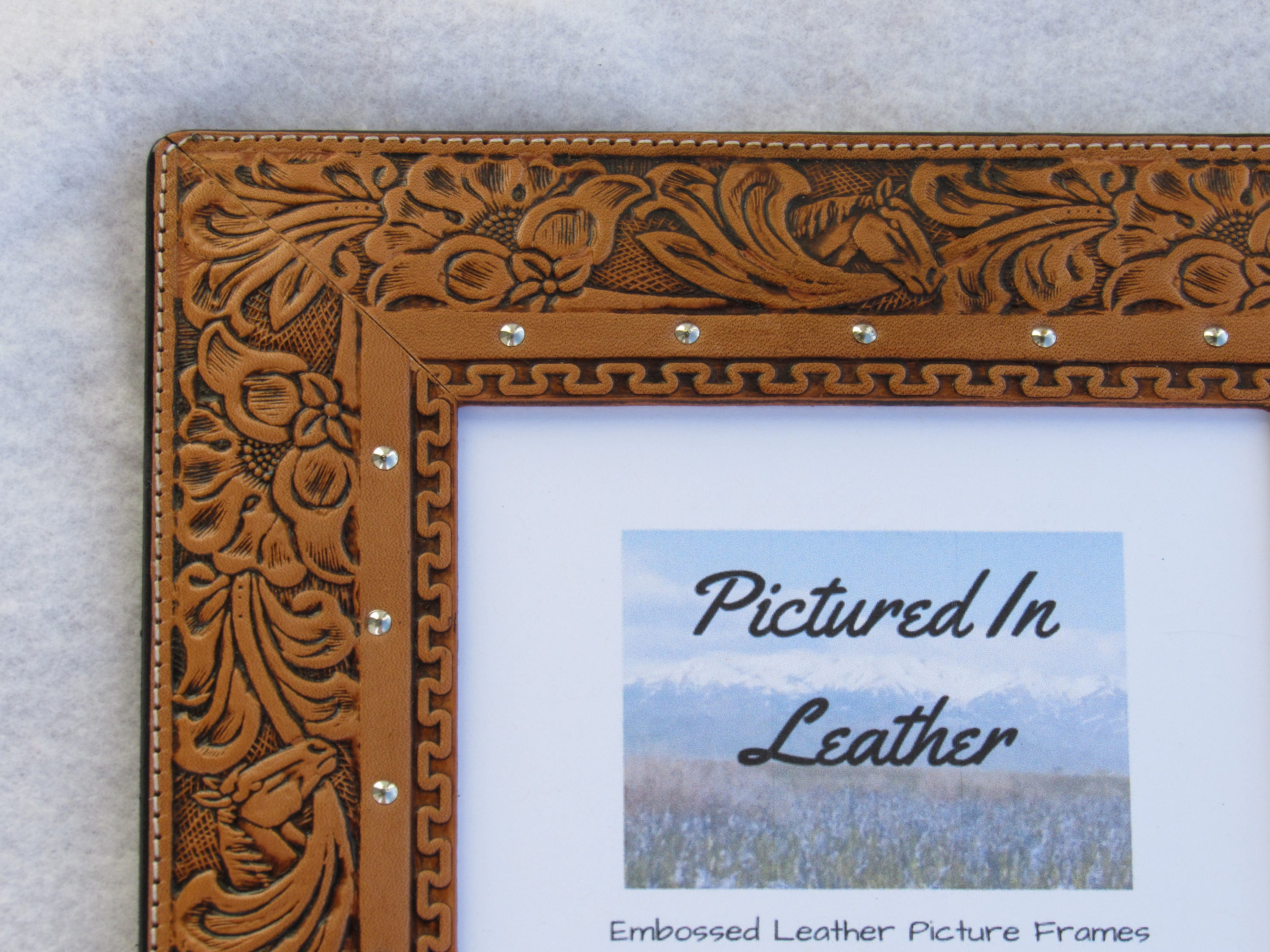 Leather picture frame, 5x7, leather photo frame, horse picture frame ...