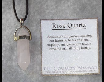 Rose Quartz Crystal Necklace - pink gemstone point pagan talisman amulet shaman witch unisex ancient magic spiritual compassion love heart
