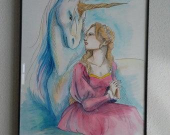 So Close- Original Art Fantasy Unicorn Elf Watercolor Painting