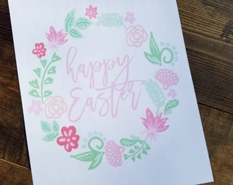Floral Happy Easter Printable Digital Download