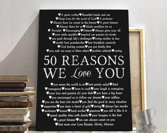 50th BIRTHDAY CANVAS, 50 years birthday, Mother birthday gift, Birthday gift canvas, Father birthday gift, Friend Birthday gift