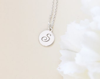 LETTER S DISC necklace silver 925 initial pendant initial S disc jewelry unique necklace gift for her  monogram disc pendant