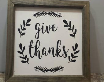 Give Thanks Sign, Farmhouse Sign, Fall Mantle Decor, Thanksgiving Sign, Wood Sign, Thanksgiving Sign, Framed sign, Give Thanks, Fall sign