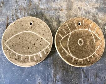 Ceramic Eye Wall Art, Ceramic Eye Ornament, Open Eyes, Closed Eyes, Ready to Ship